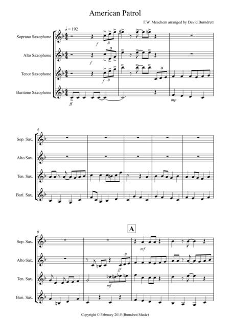American Patrol for Saxophone Quartet