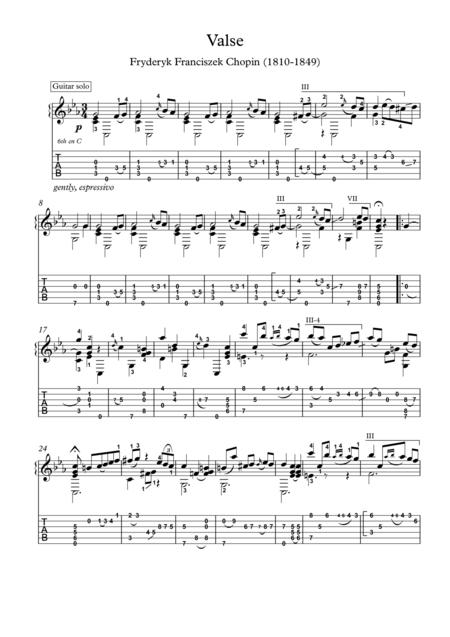 Chopin Grande Valse Brillante Op 34 No 2 Guitar Solo With Tablature By Frederic Chopin 1810 1849 Digital Sheet Music For Sheet Music Single Download Print S0 36629 Sheet Music Plus