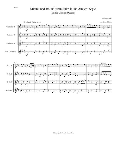 Minuet and Round from d'Indy Suite in the Ancient Style set for Clarinet Quartet