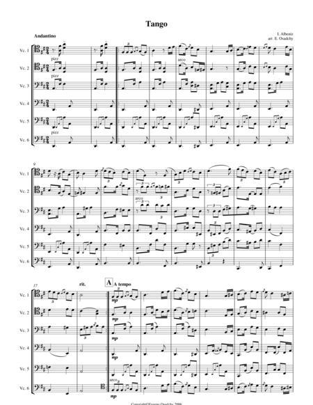 Albeniz, Tango, transcribed for 6 cellos