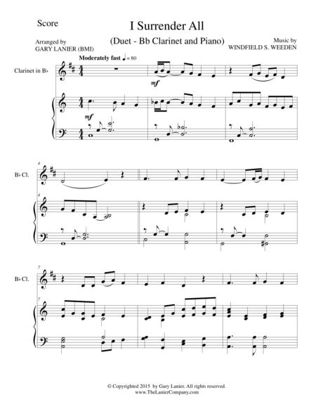 Download I Surrender All Duet Bb Clarinet And Pianoscore And