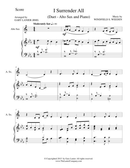Download I Surrender All Duet Alto Sax And Pianoscore And Parts