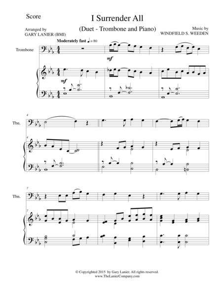 I SURRENDER ALL (Duet – Trombone and Piano/Score and Parts)