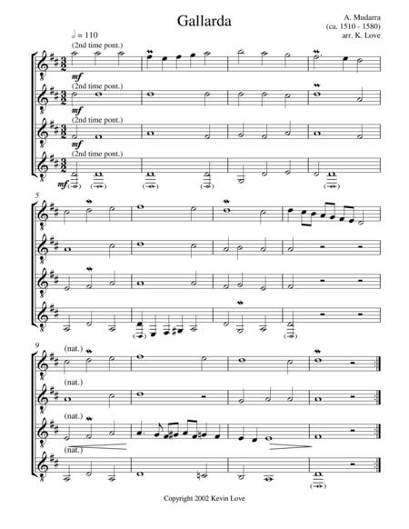 Gallarda (Guitar Quartet) - Score and Parts