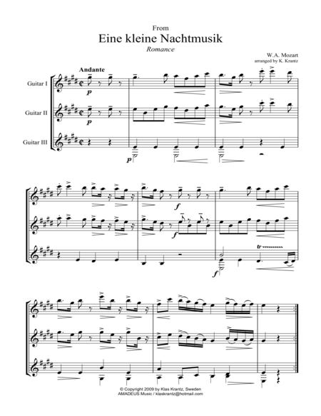 Romance (abridged) for guitar trio
