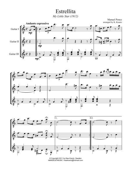 Estrellita / My little star for guitar trio