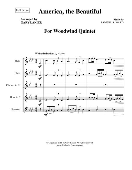 AMERICA, THE BEAUTIFUL (Woodwind Quintet/Score and Parts)