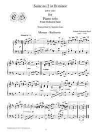 Bach Suite no.2 in B minor BWV 1067 - 7 - 8 - Menuet-Badinerie - Piano solo
