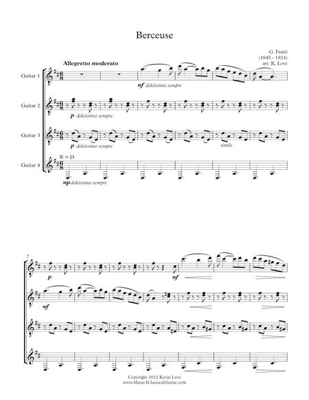 Berceuse (Guitar Quartet) - Score and Parts