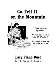 Go, Tell It on the Mountain (Easy Piano Duet; 1 Piano, 4 Hands)