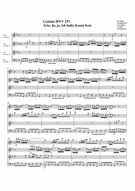 Aria: Ja, ja, ich halte Jesum feste from cantata BWV 157