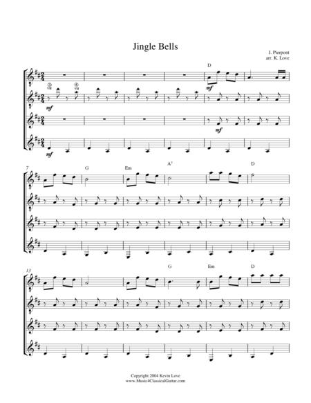Jingle Bells (Guitar Quartet) - Score and Parts