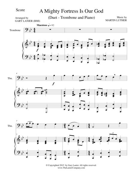 A MIGHTY FORTRESS IS OUR GOD (Duet – Trombone and Piano/Score and Parts)
