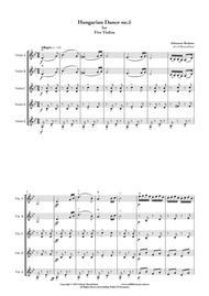 Hungarian Dance no.5, by Johannes Brahms, arranged for 5 violins