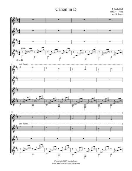 Canon in D (Guitar Quartet) - Score and Parts