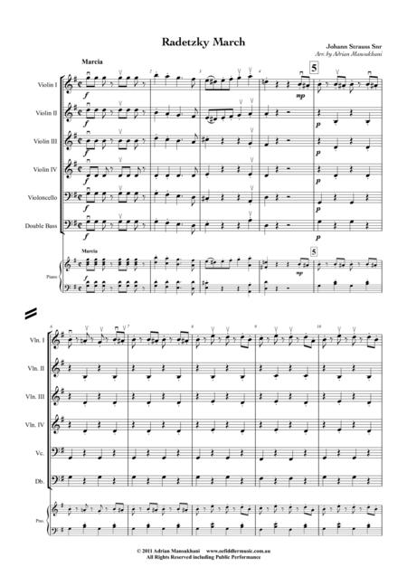 Radetzky March, by Johann Strauss Snr, arranged for School String Orchestra (with various levels of violins) by Adrian Mansukhani