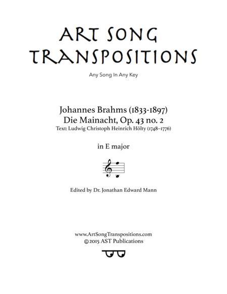 Die Mainacht, Op. 43 no. 2 (E major)