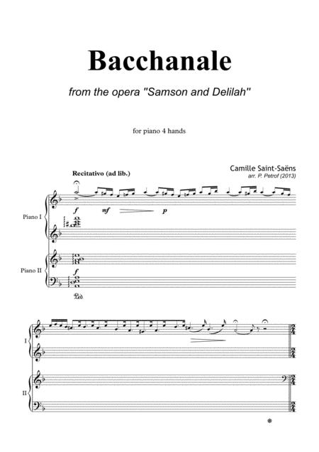 Bacchanale from the opera ''Samson and Delilah'' - for piano 4 hands
