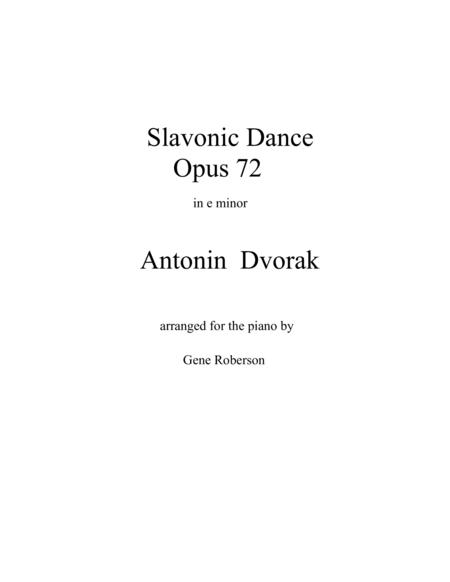 Slavonic Dance in E minor  Opus 72  Dvorak
