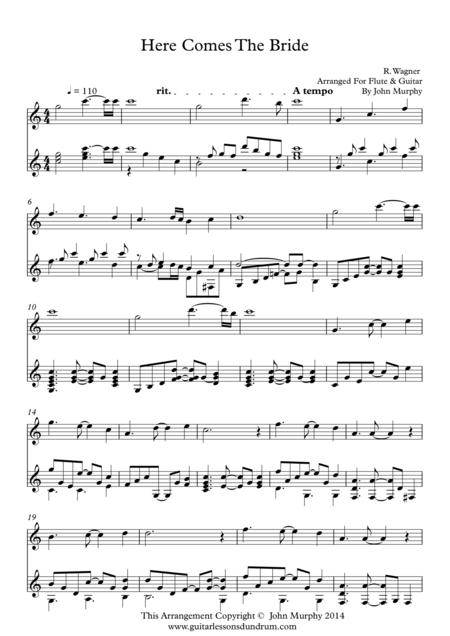 Download Here Comes The Bride For Flute Guitar Sheet Music By