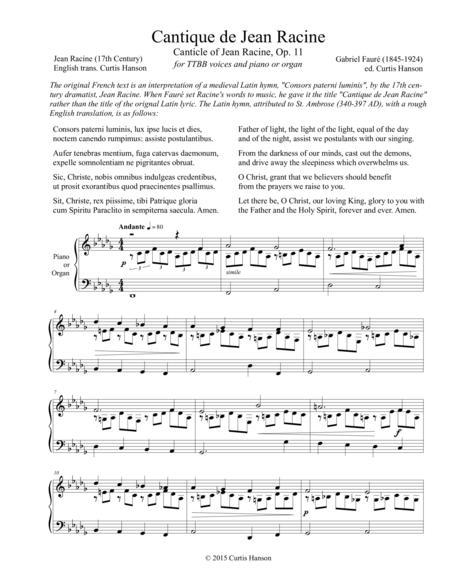Cantique de Jean Racine (TTBB)