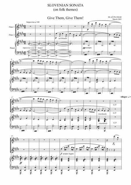 Slovenian Sonata - for 2 flutes and piano