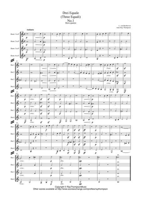 Beethoven: Drei Equale (Three Equali) (WoO 30) for trombone quartet arr. horn quartet