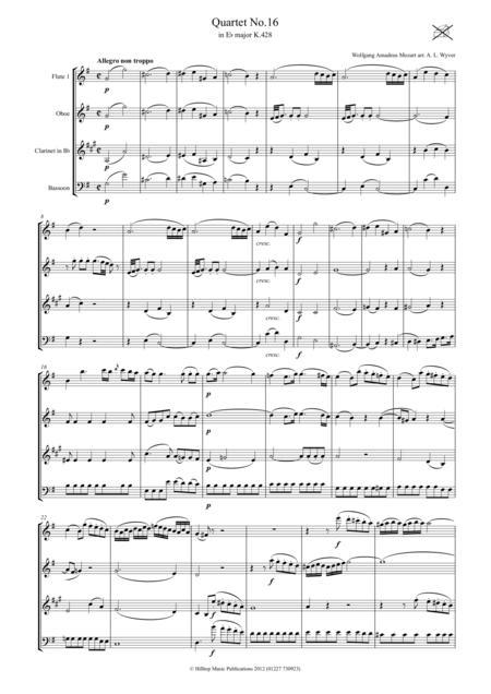 Mozart Quartet No. 16 K. 428 arr. Woodwind Quartet