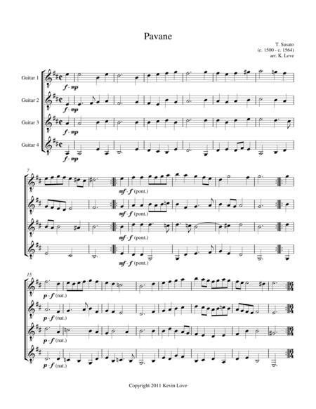 Pavane (Guitar Quartet) - Score and Parts
