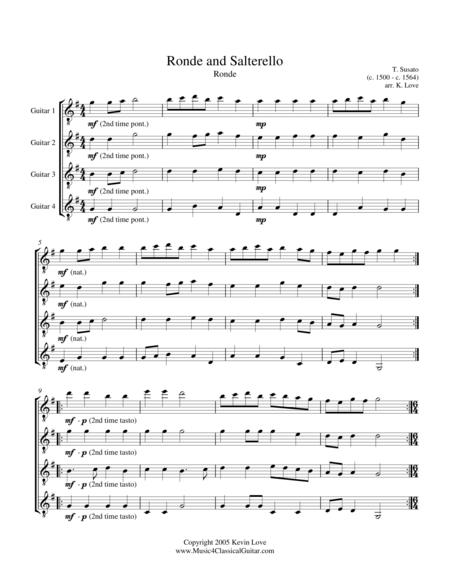 Ronde and Salterello (Guitar Quartet) - Score and Parts
