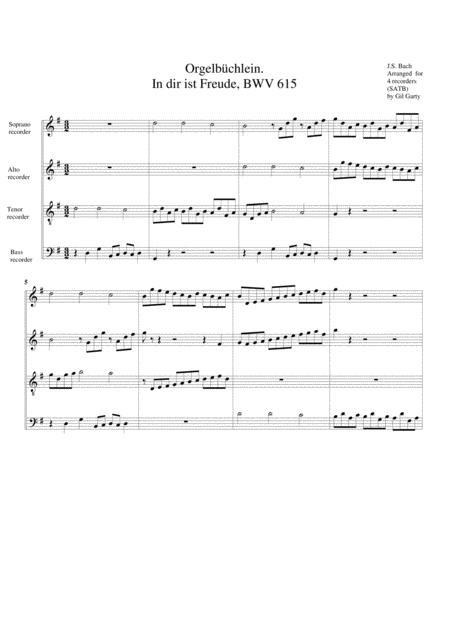 In dir ist Freude, BWV 615 from Orgelbuechlein