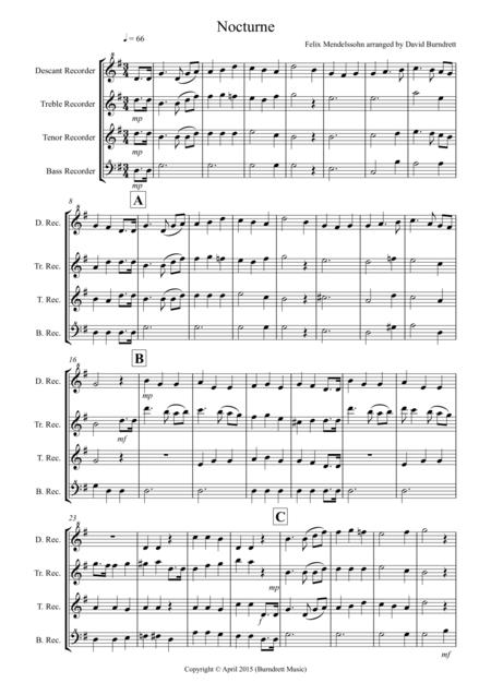Nocturne (from A Midsummer Night's Dream) for Recorder Quartet