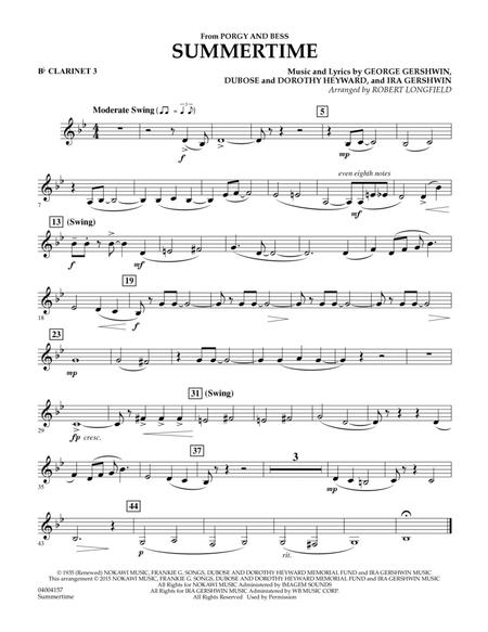 Summertime (from Porgy and Bess) - Bb Clarinet 3