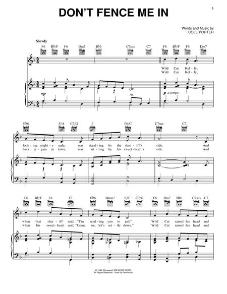 Download Dont Fence Me In Sheet Music By Cole Porter Sheet Music Plus