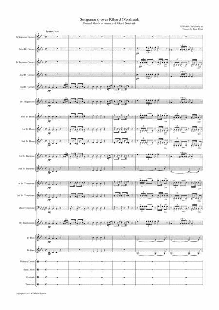 Download Grieg: Funeral March For Rikard Nordraak (Brass