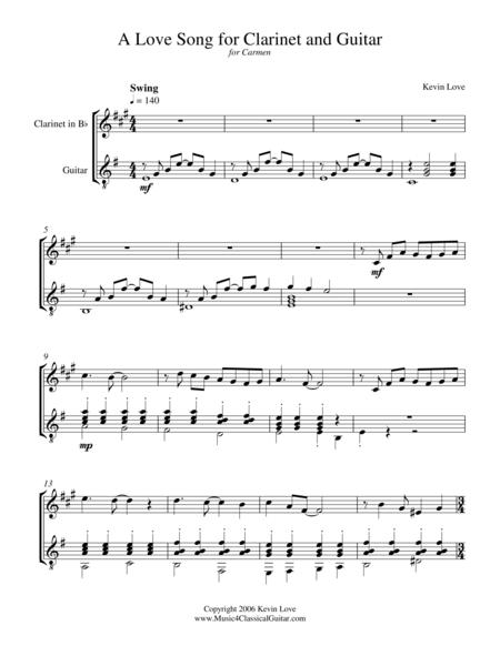 A Love Song for Clarinet and Guitar - Score and Parts