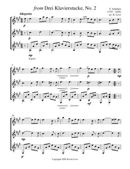 from Drei Klavierstucke, No. 2 (Flute, Violin and Guitar) - Score and Parts