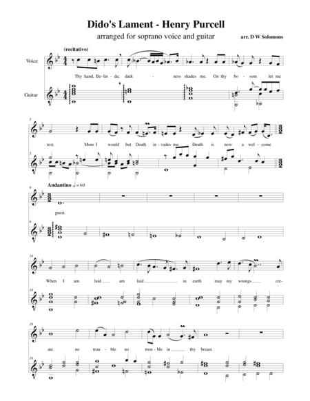 Dido's Lament - When I am laid in earth - arranged for soprano and guitar.