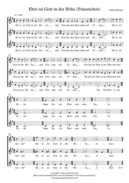 Gloria in G in German (Ehre sei Gott in der Höhe) for  womens' voices (SAA choir) by Simon Peberdy