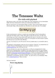 Tenessee Waltz with playback for intermediate fiddlers