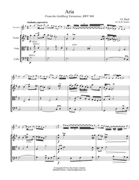 Aria (Goldberg var.) BWV 988 for string trio (vln, vla, vc)