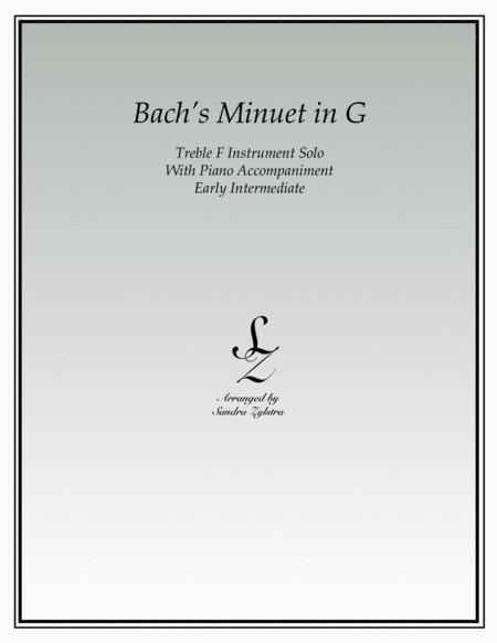 Bach's Minuet In G (treble F instrument solo)