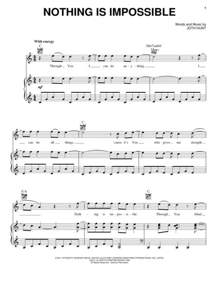 Download Nothing Is Impossible Sheet Music By Planetshakers - Sheet ...