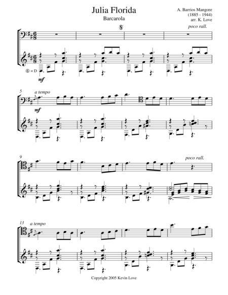 Julia Florida - Barcarola (Cello and Guitar) - Score and Parts