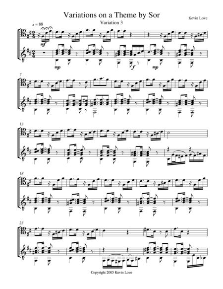 Variations on a Theme by Sor (Cello and Guitar) - Var. 3