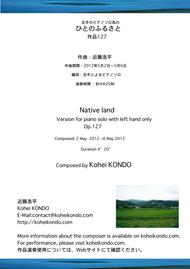 Native land (Hito no Fususato) for piano solo with left hand only op.127