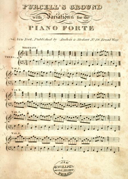 Purcell's Ground with Variations for the Piano Forte