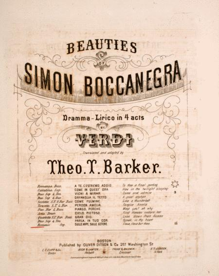 Beauties of Simon Boccanegra. Dramma-Lirico in 4 acts by Verdi. Romance