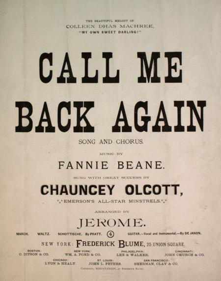 Call Me Back Again. Song and Chorus