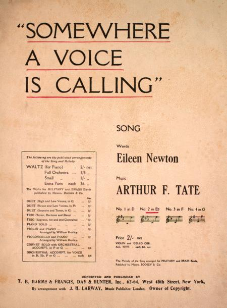 Somewhere a Voice is Calling. Song